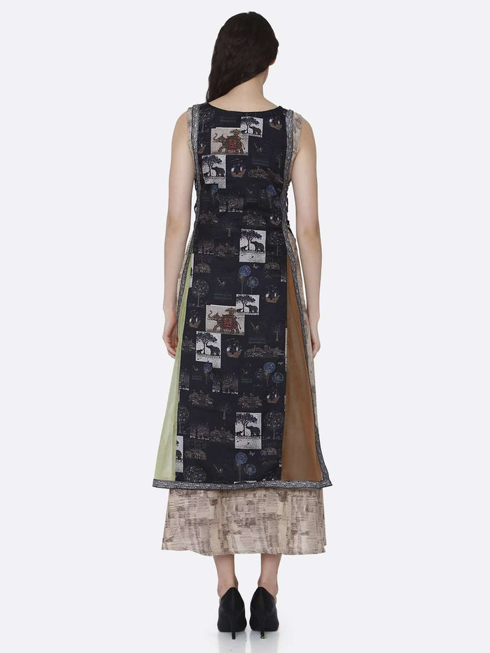 Back Side Rayon & Chanderi Print Kurti With Multicoloured