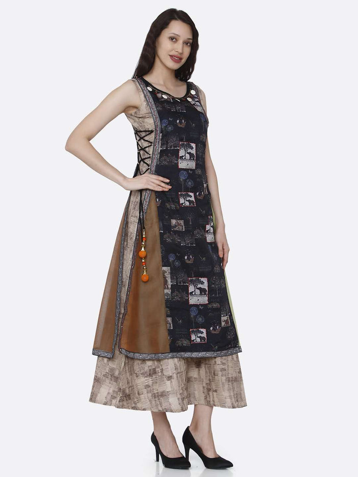Right Side Rayon & Chanderi Print Kurti With Multicoloured