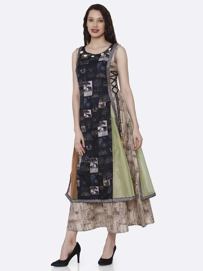 Multicoloured Rayon and chanderi Print Kurti