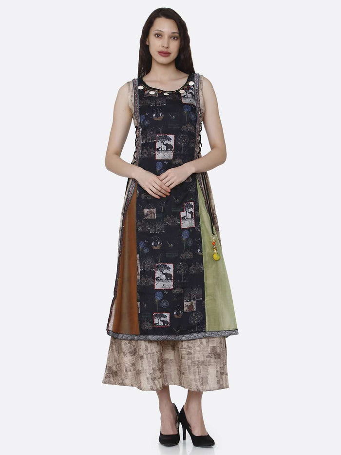 Front Side Multicoloured Rayon and chanderi Print Kurti