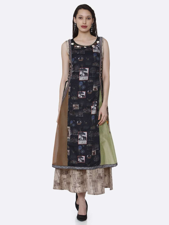 Casual Rayon & Chanderi Print Kurti With Multicoloured