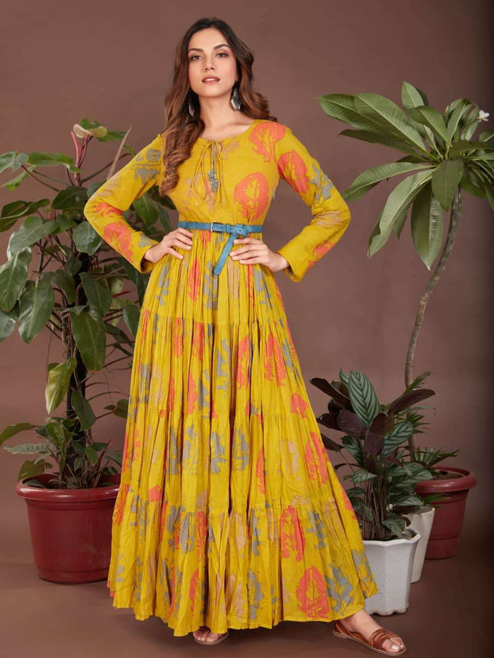 Front Side Cotton Printed Flared Maxi Dress With Mustard Color