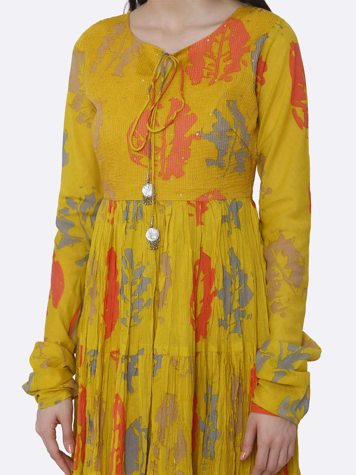Cotton Printed Flared Maxi Dress With Mustard Color