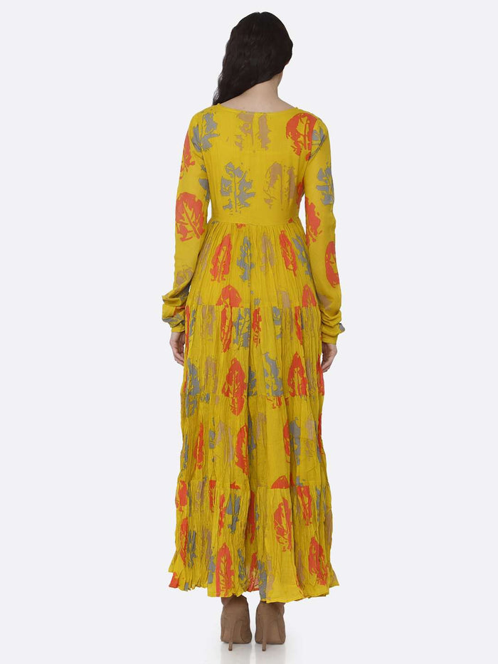 Back Side Mustard Cotton Printed Flared Maxi Dress