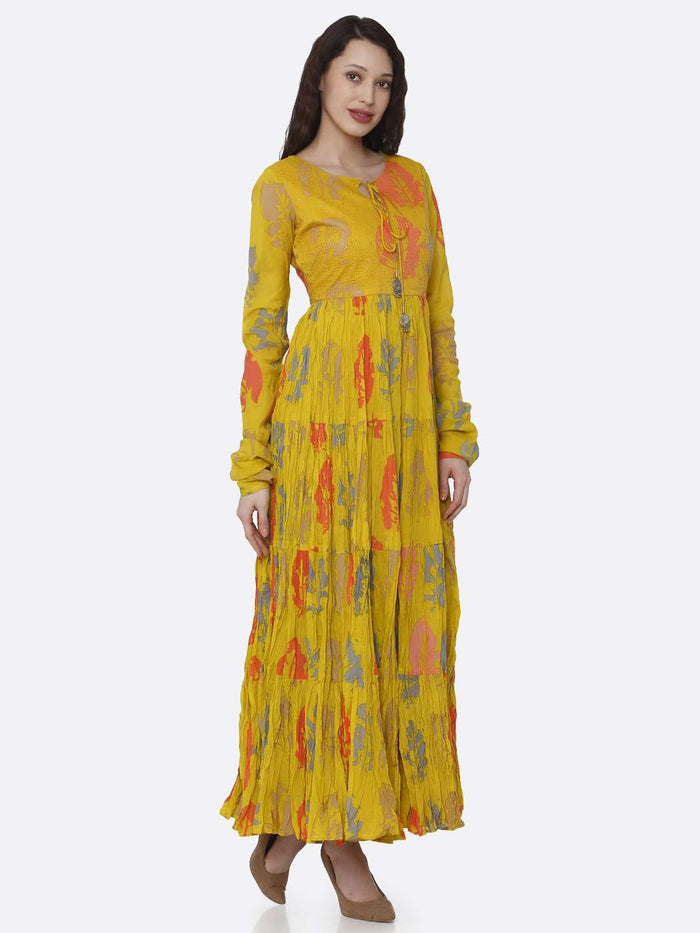 Right Side Mustard Cotton Printed Flared Maxi Dress