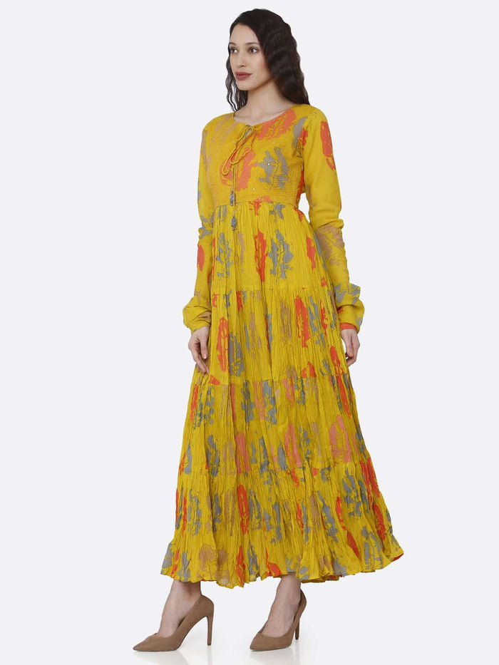 Left Side Mustard Cotton Printed Flared Maxi Dress