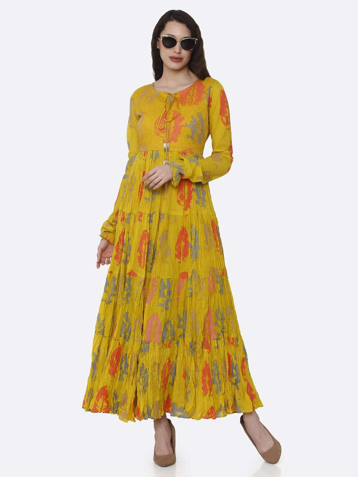 Casual Mustard Cotton Printed Flared Maxi Dress