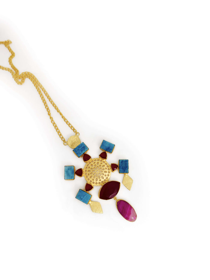 Gold Plated & Colored Stone Studded Brass Handcrafted Necklace