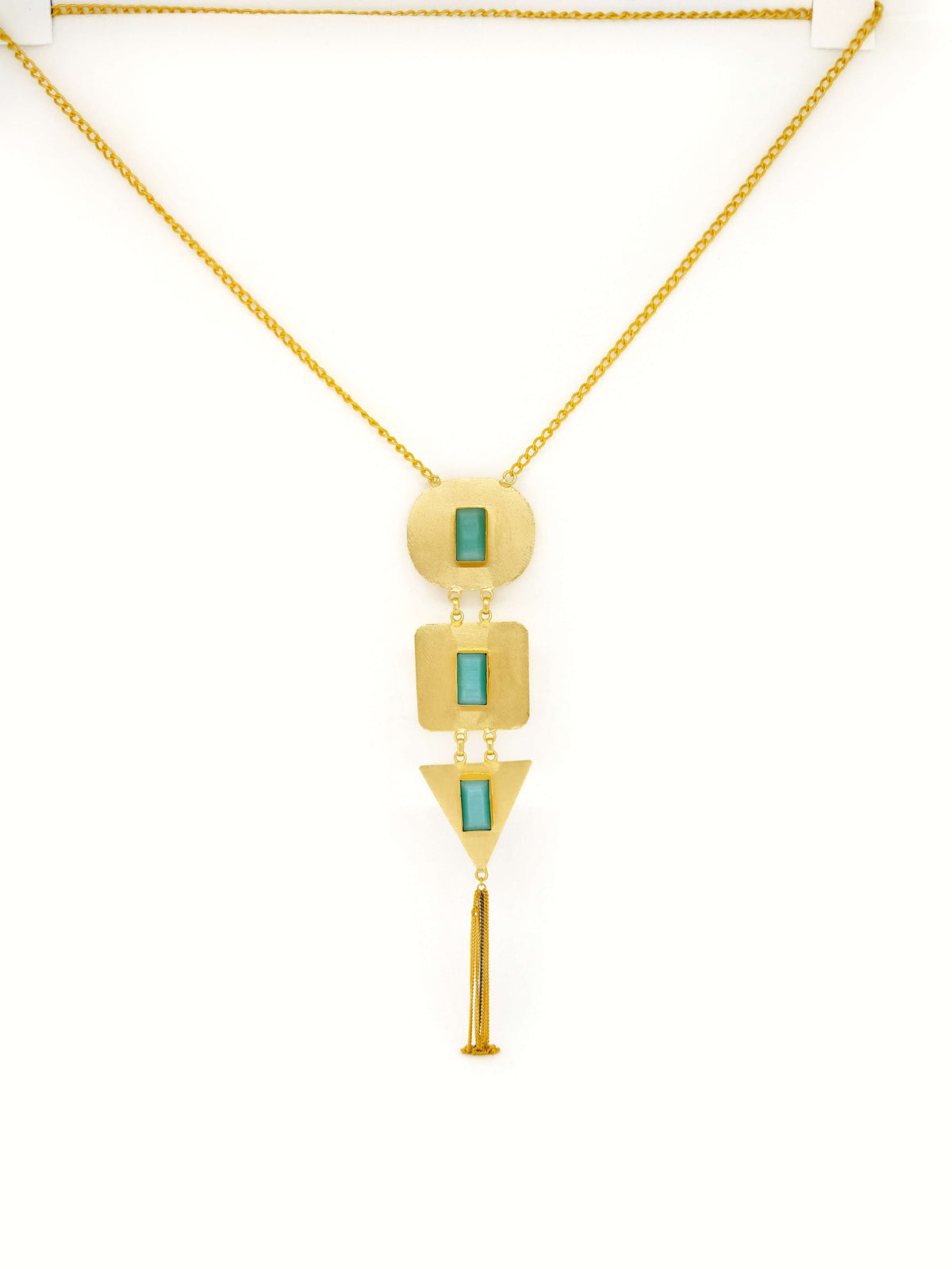 Gold Plated Brass & Sea Green Colored Stone Studded Contemporary Necklace
