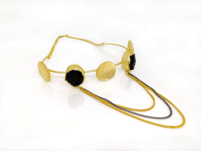 Gold Plated Brass & Black Colored Stone Studded Contemporary Choker Necklace