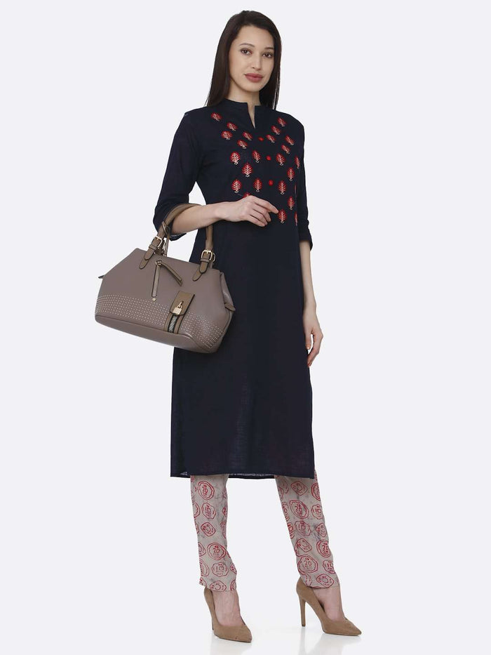 Right Side Embroidered Rayon Black Kurti With Pant Set