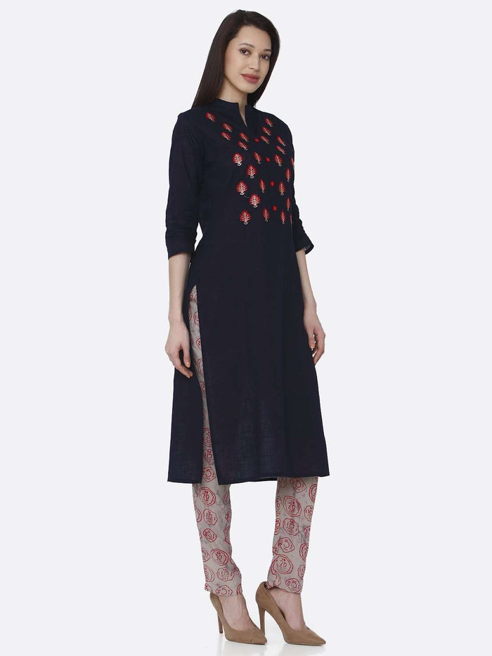 Right Side Black Embroidered Rayon Kurti Pants set