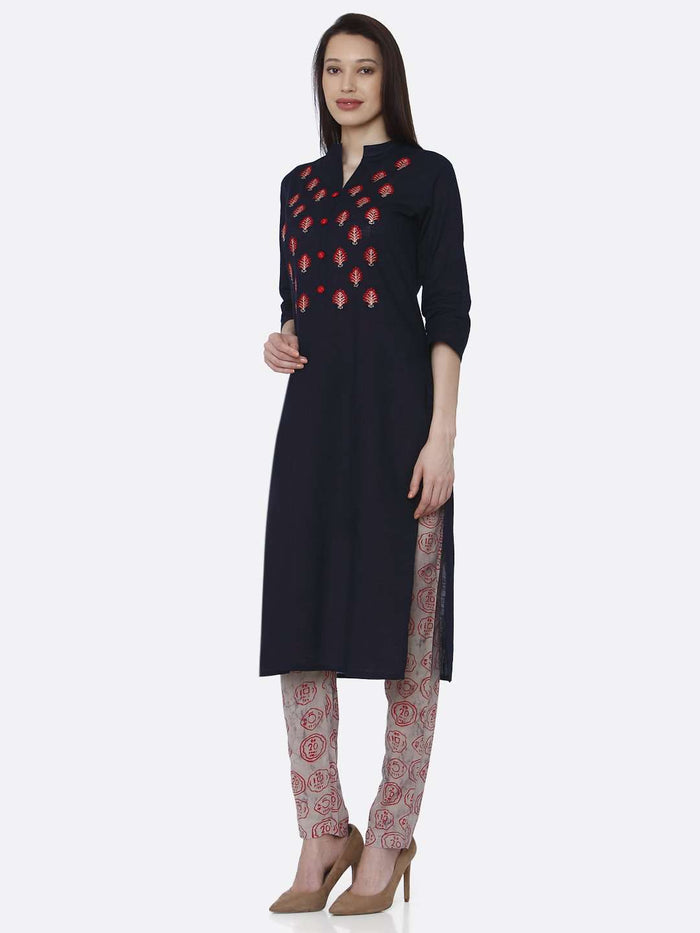 Left Side Black Embroidered Rayon Kurti Pants set