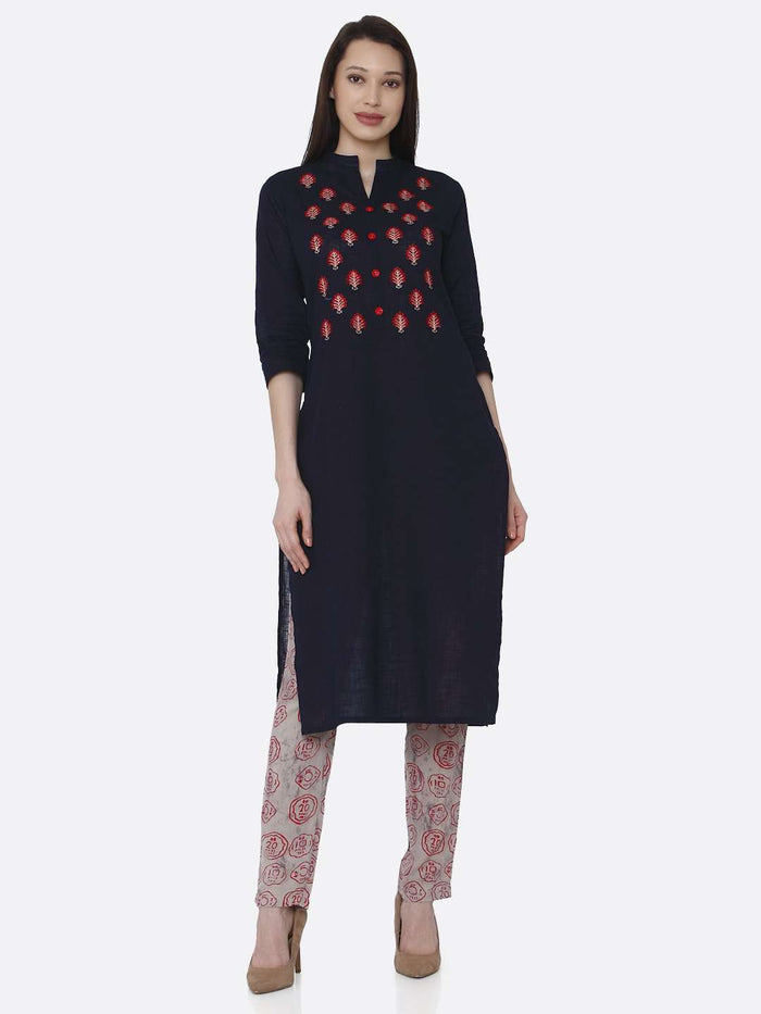 Front Side Embroidered Black Rayon Kurti With Pant Set