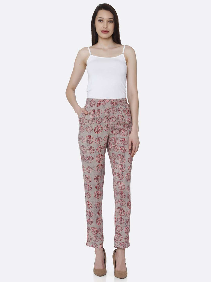 Front Side Grey Printed Pants
