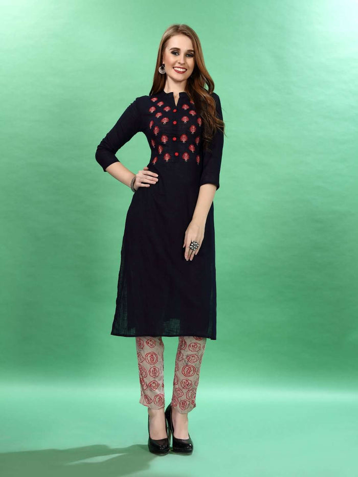 Front Set Black Embroidered Rayon Kurti Pants set