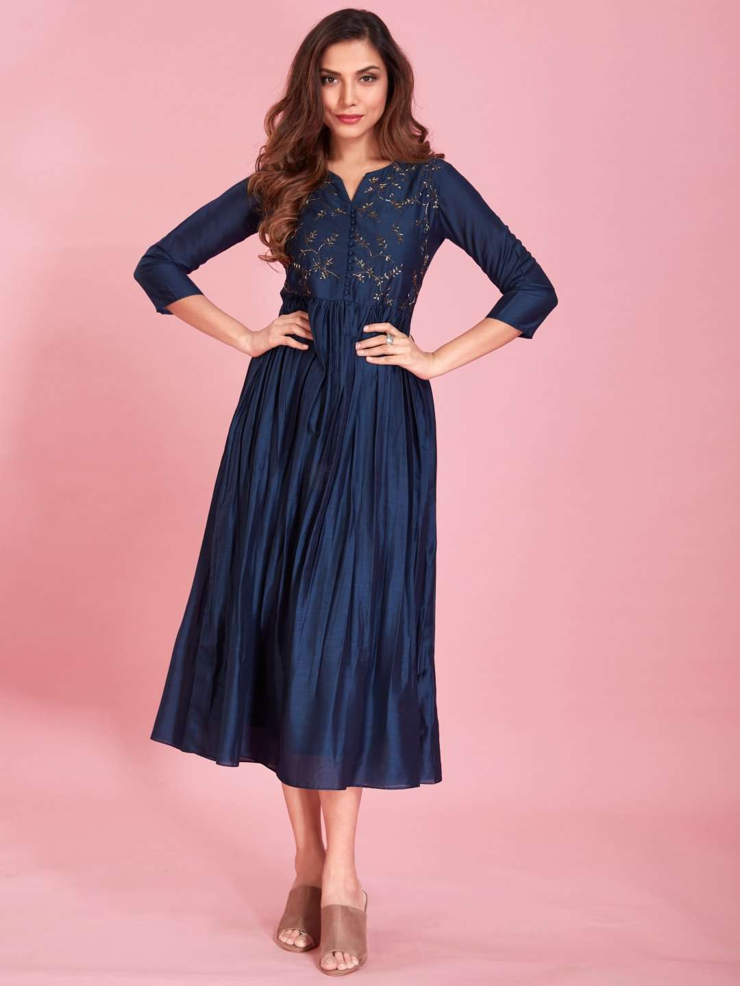 Front Side Embroidered Viscose Long Kurti With Navy Blue Color