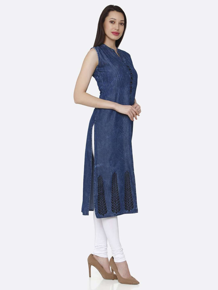 Right Side Navy Blue Plain Cotton Denim Kurti With White Palazzo Pant