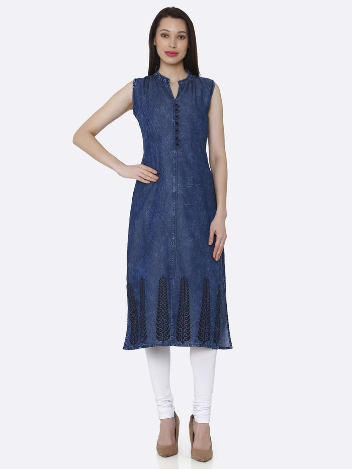 Front Side Navy Blue Plain Cotton Denim Kurti With White Palazzo Pant