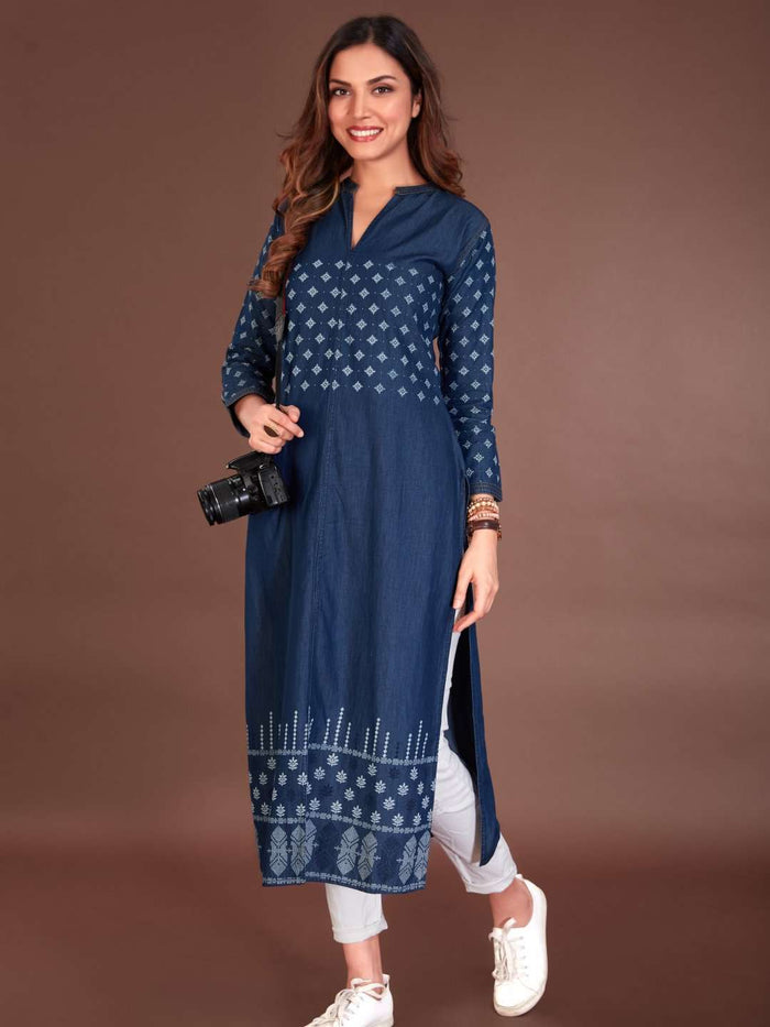 Navy Blue Printed Cotton Denim Kurti