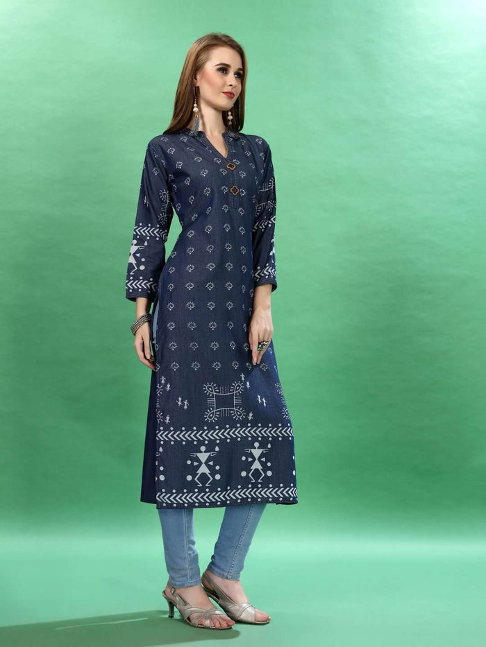 Front Side Navy Blue Printed Cotton Denim Kurti With Denim Pant