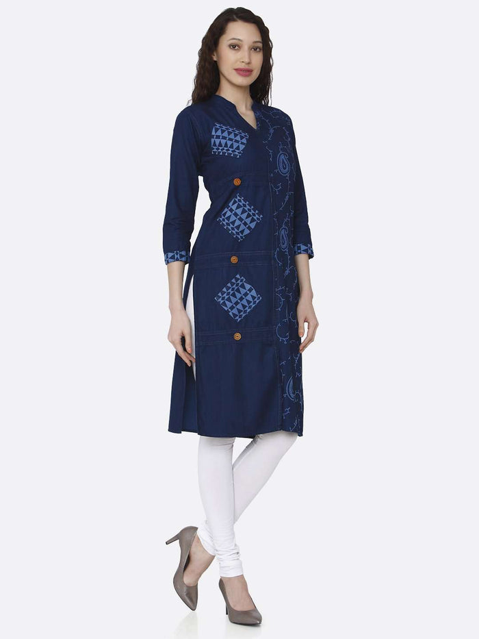 Right Side Printed Cotton Denim Kurti With Navy Blue Color