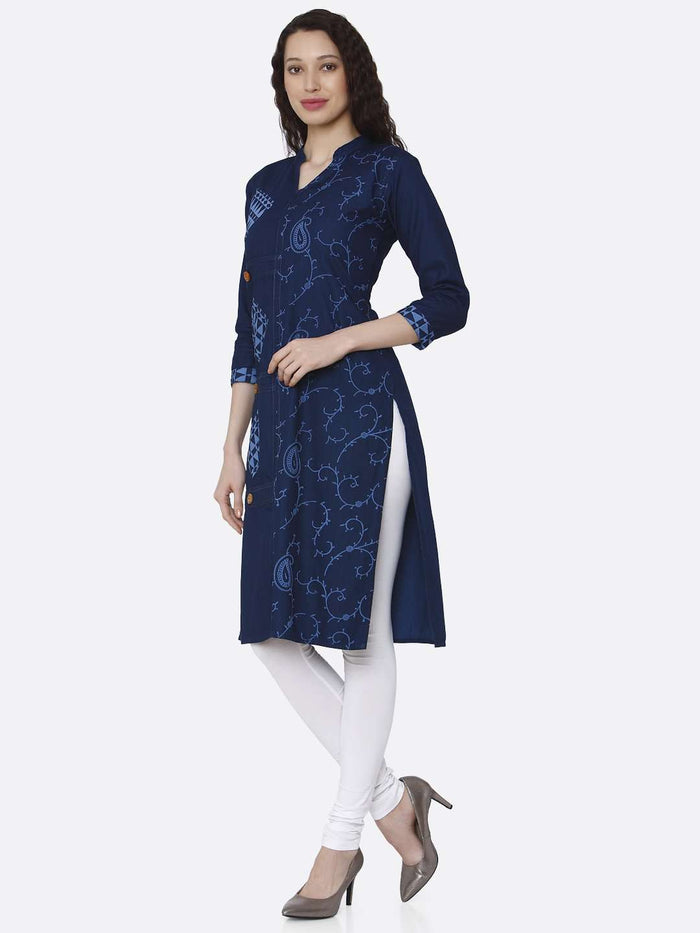 Left Side Printed Cotton Denim Kurti With Navy Blue Color