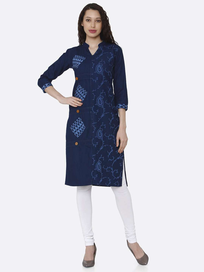 Front Side Printed Cotton Denim Kurti With Navy Blue Color