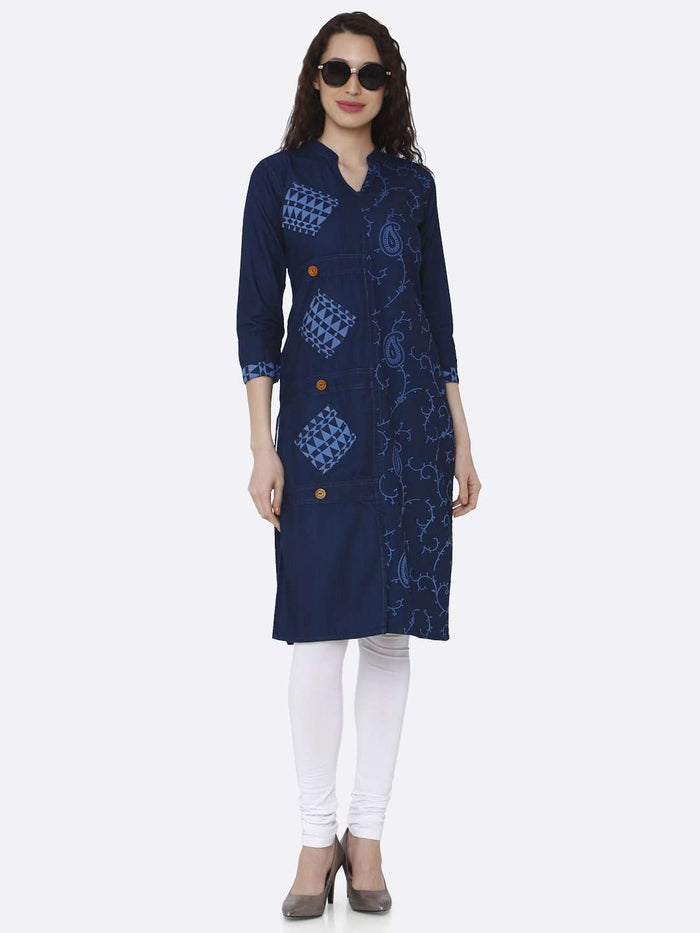Casual Printed Cotton Denim Kurti With Navy Blue Color