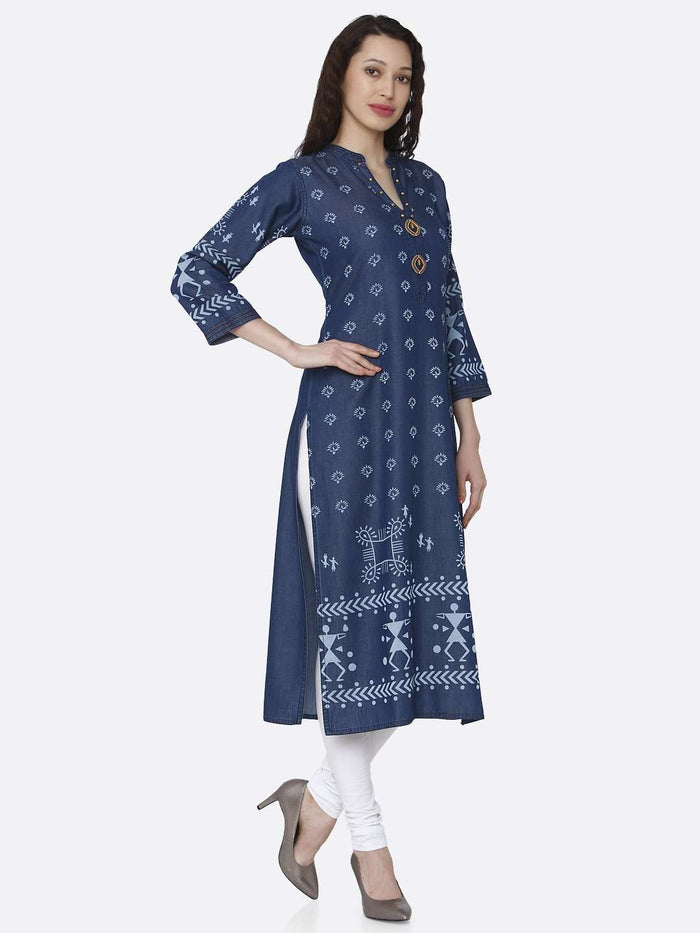 Right Side Navy Blue Printed Cotton Denim Kurti With White Palazzo Pant