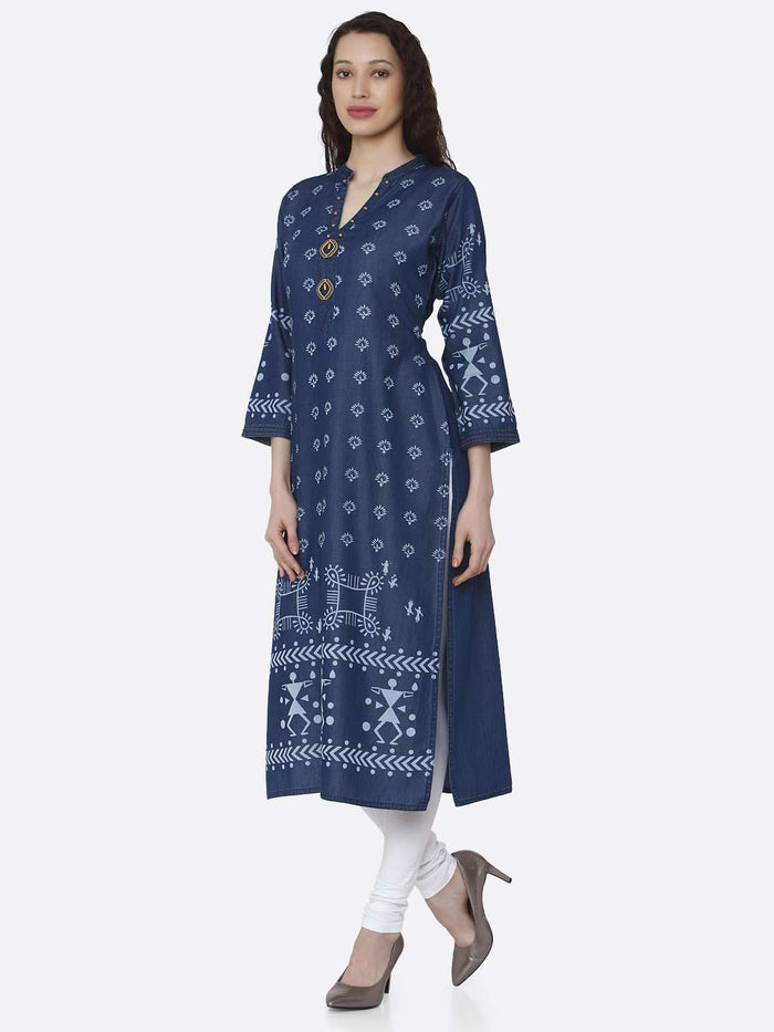 Left Side Navy Blue Printed Cotton Denim Kurti With White Palazzo Pant