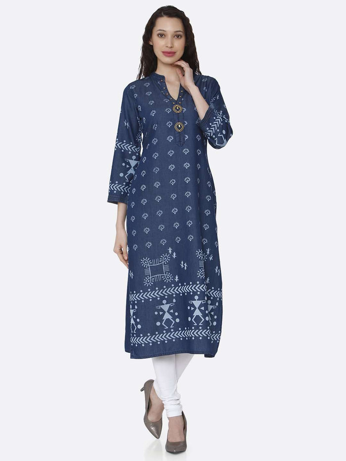 Front Side Navy Blue Printed Cotton Denim Kurti With White Palazzo Pant