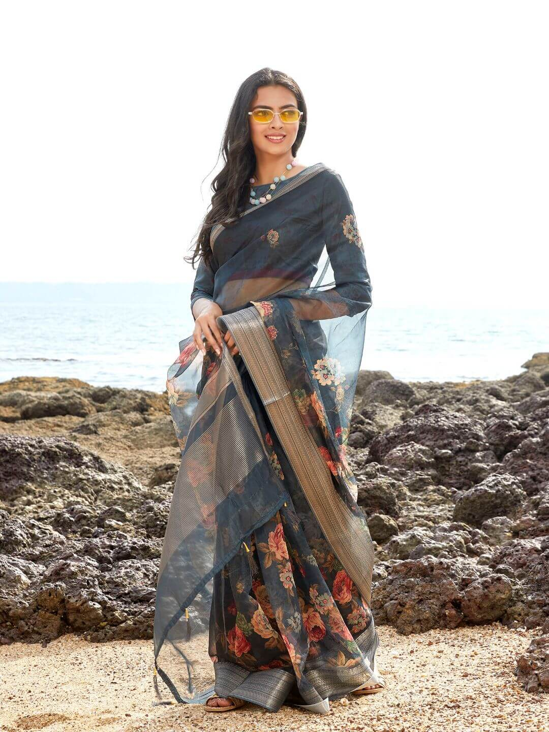 Front Side Navy Blue Floral Digital Print Organza Zari Border Saree
