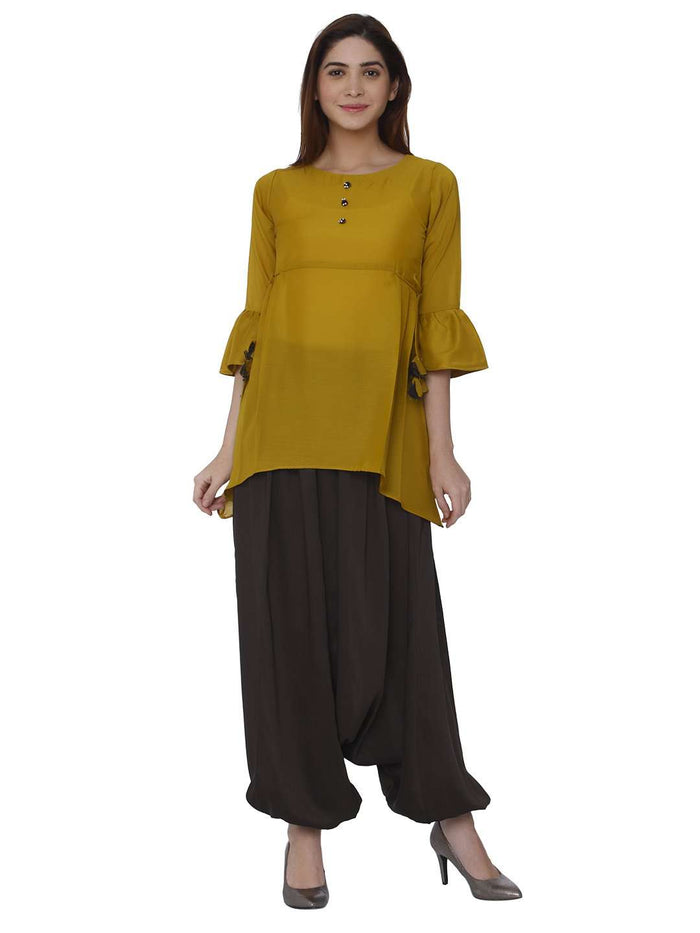Front Side Polyester Dhoti Set With Mustard & Brown Color