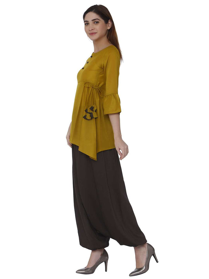 Left Side Mustard & Brown Polyester Dhoti Set