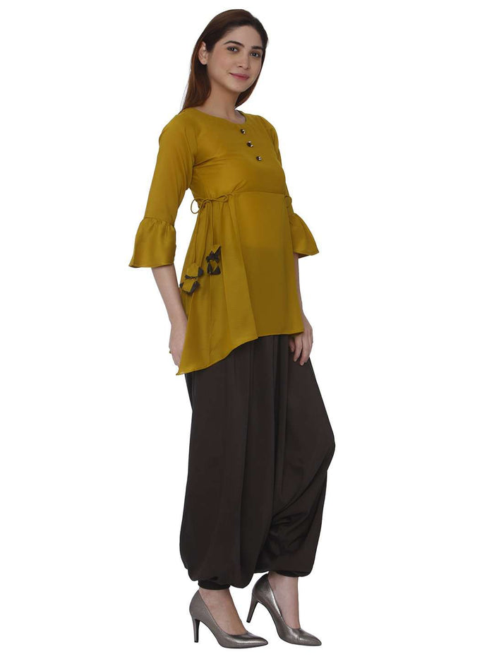 Right Side Mustard & Brown Polyester Dhoti Set