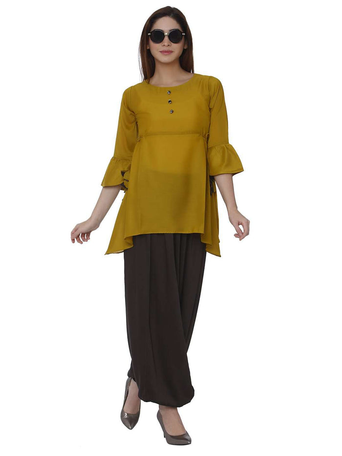 Casual Mustard & Brown Polyester Dhoti Set