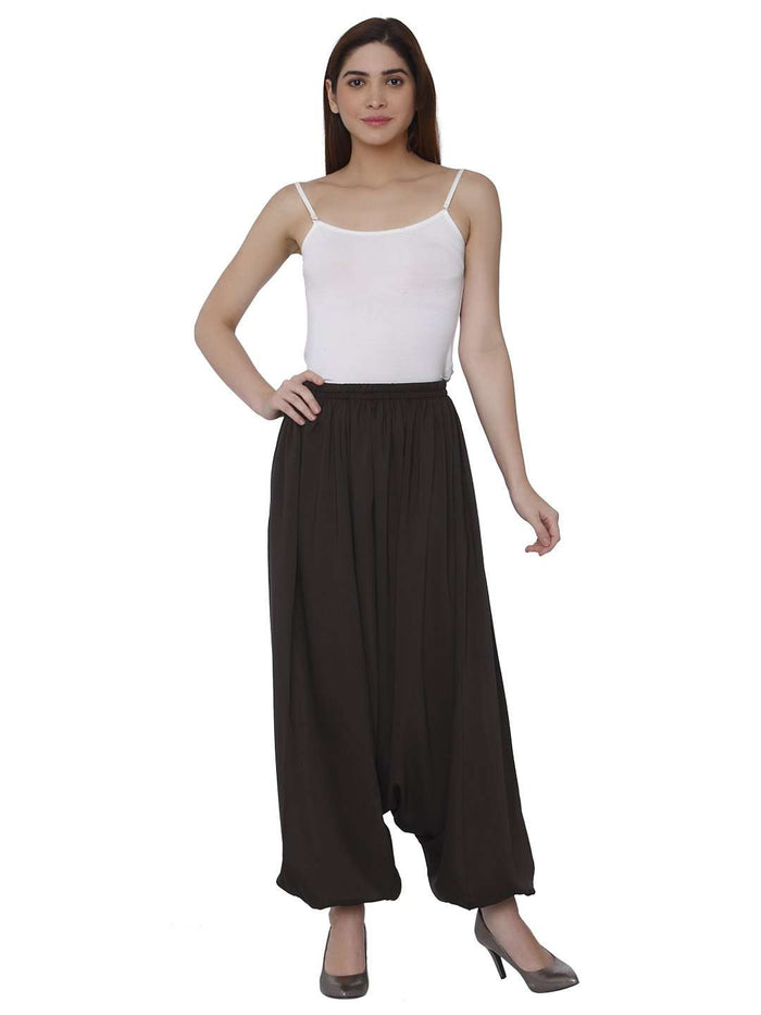 Front Side Polyester Dhoti Set With Brown Color