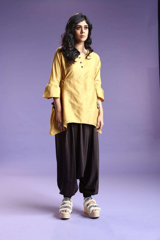 Front Side Mustard & Brown Polyester Dhoti Set