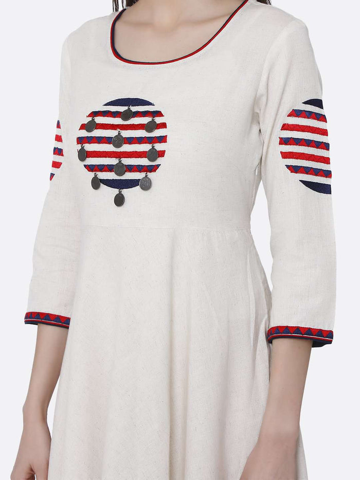 Off White Embroidered Cotton Long A-line Dress