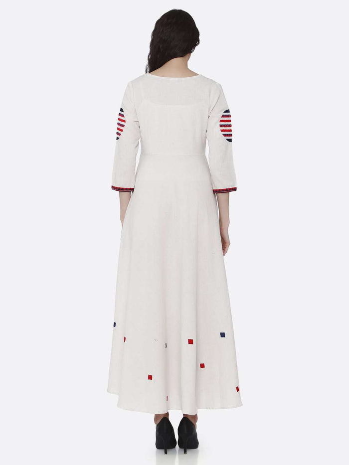 Back Side Off White Embroidered Cotton Long A-line Dress