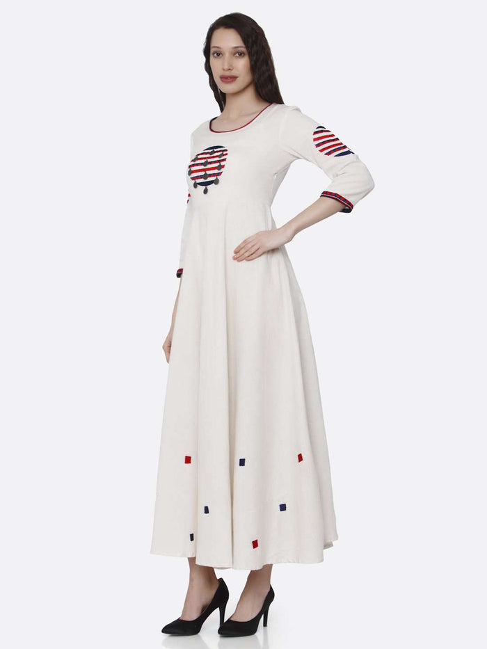 Left Side Off White Embroidered Cotton Long A-line Dress