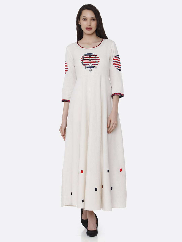 Front Side Embroidered Cotton Long A-Line Dress With Off- White Color