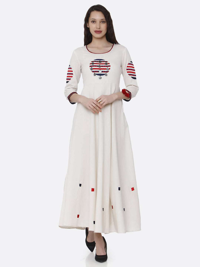 Casual Off White Embroidered Cotton Long A-line Dress