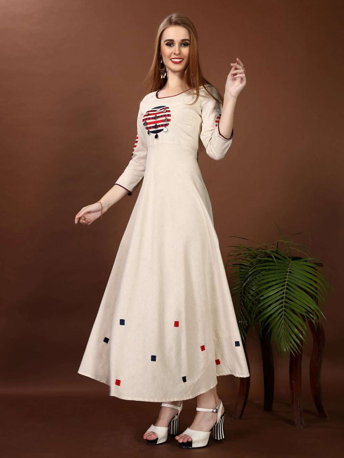 Front Side Off White Embroidered Cotton Long A-line Dress