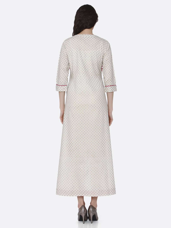 Back Side Embroidered Long Handloom Kurti With Off White Color