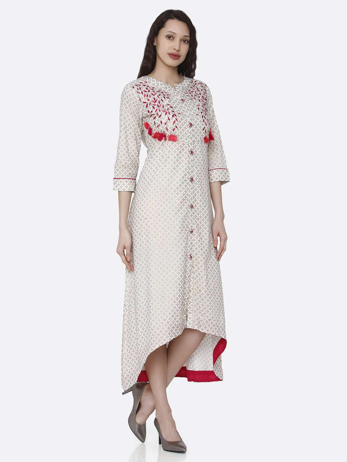 Front Side Casaul Off White Embroidered Long Handloom Kurti