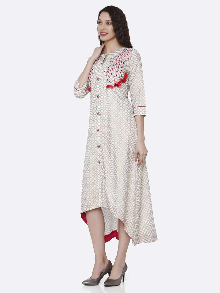 Left Side Embroidered Long Handloom Kurti With Off White Color