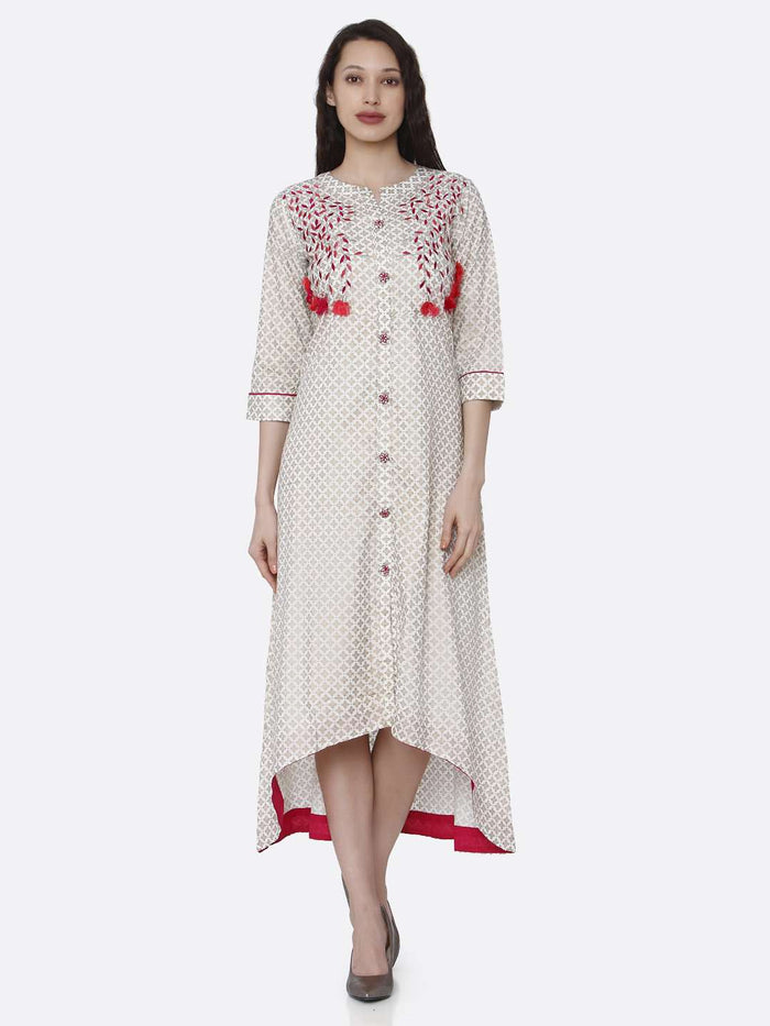 Front Side Off White Embroidered Long Handloom Kurti