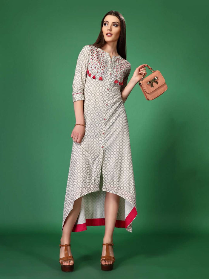 Front Side Embroidered Long Hnadloom Kurti With Off White Color